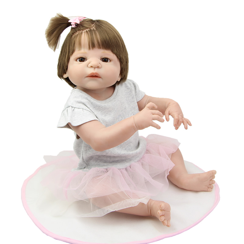 Cute 23 Inch Reborn Baby Girl Dolls Full Bodied Silicone Vinyl Realistic Newborn Babies Doll Kids Birthday Xmas Gift cute truly newborn doll 23 inch fashion baby toy realistic full vinyl silicone babies doll handmade gift for girl reborn boneca