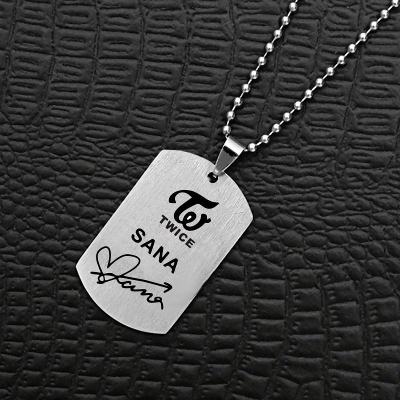 KPOP Twiceland Album Twice Necklace Korean Fashion Stainless Steel Jewelry Accessories Rock Collar For Men Women Boy Girl