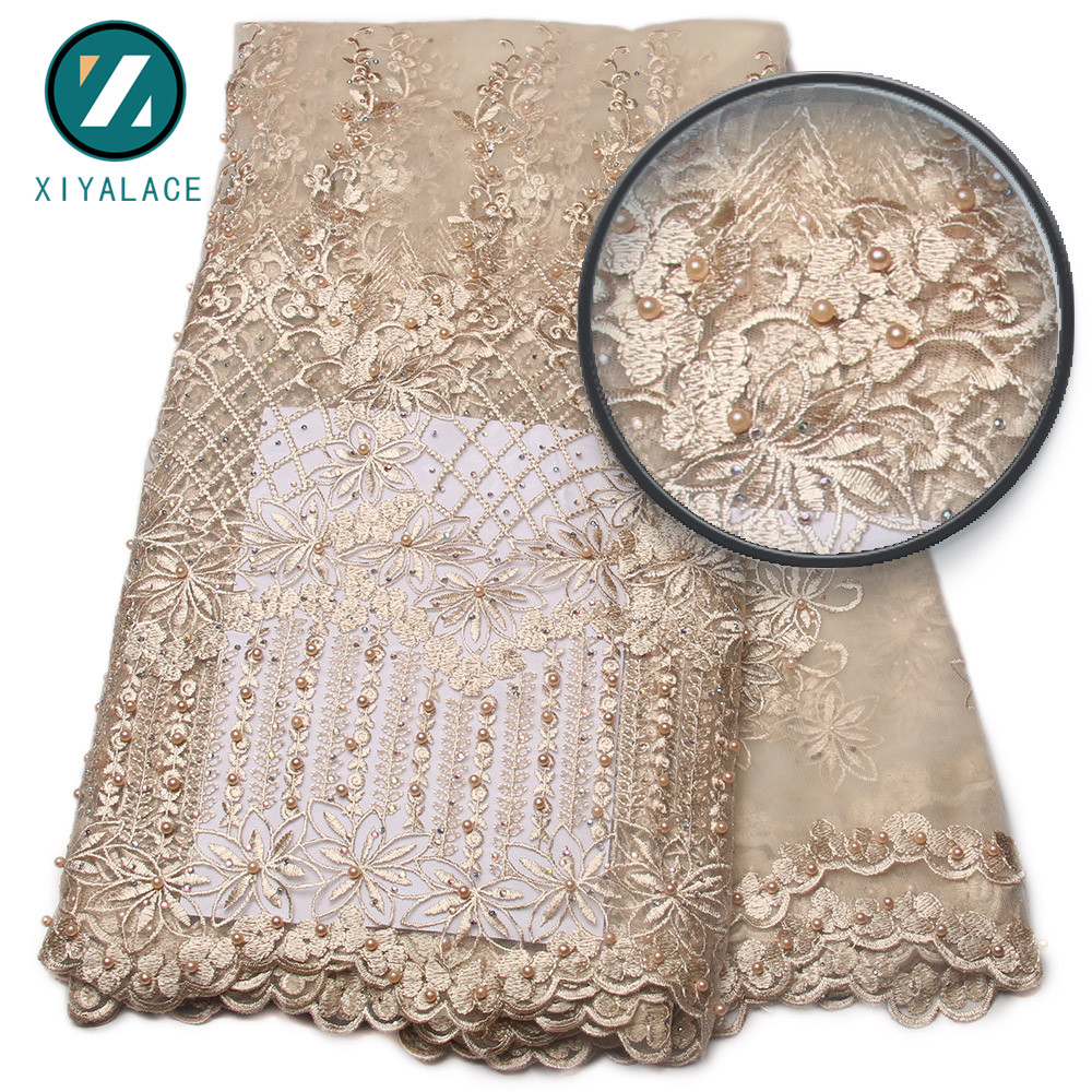 Nigerian Lace Fabric 2018 High Quality african Lace Fabric With Stones Lace Material For Tulle Lace