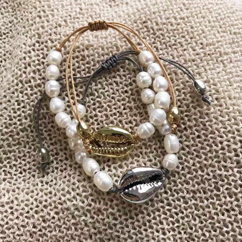 Đời Boho Puka Tự Nhiên Cowrie Vỏ Vòng Cổ Nữ Tuyên Bố Ngọc Trai Baroque BIJOUX Vòng Cổ Choker Collier De Coquillages Trang Sức 2018