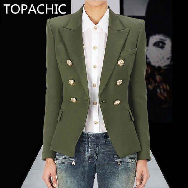 Topachic nuevo diseñador de moda chaqueta Blazer de las mujeres de doble  botonadura de Metal botones 157094ea72e1