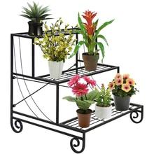 Three Tier Metal Plant Stand Decorative Planter Holder Flower Pot Shelf Rack Black