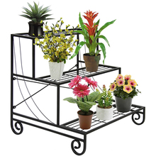 Three Tier Metal Plant Stand Decorative Planter Holder Flower Pot Shelf Rack Black
