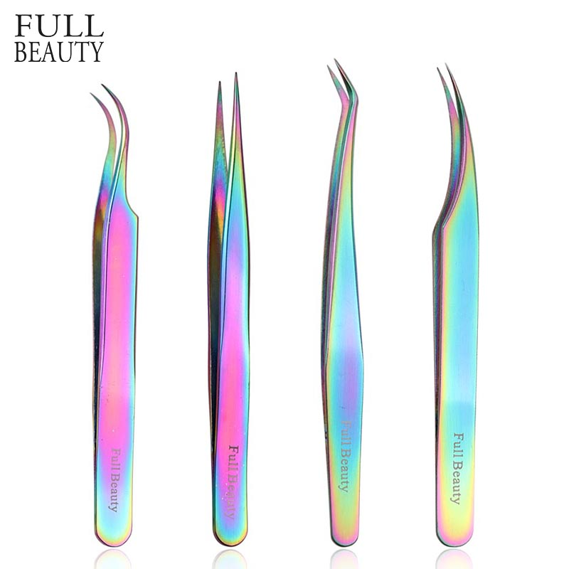 4 Type Straight Curved Rainbow Tweezers for Eyelash Extension Women Makeup Manicure Precision Picker Pro Eyebrow Tweezers FBT1-4