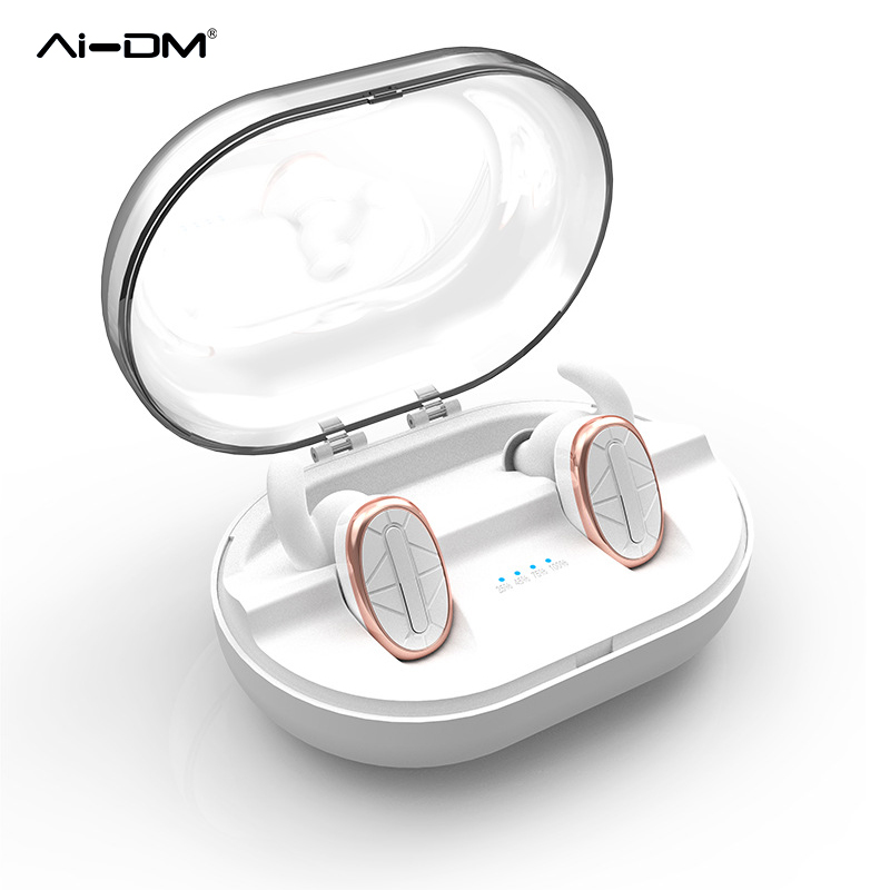 AIDM Bluetooth Handset Mini True Wireless Earbuds in Ear Noise Canceling Twins Earphones with Mic Charging Box for iPhone Xiaomi