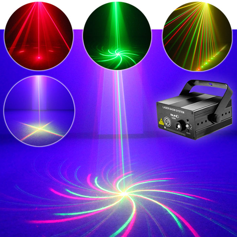 AUCD Mini Remote 9 big Patterns Red Green Laser Projector 3W Blue LED Light DJ Home Party Wedding Stage Lighting  L09 laser stage lighting 48 patterns rg club light red green blue led dj home party professional projector disco dance floor lamp