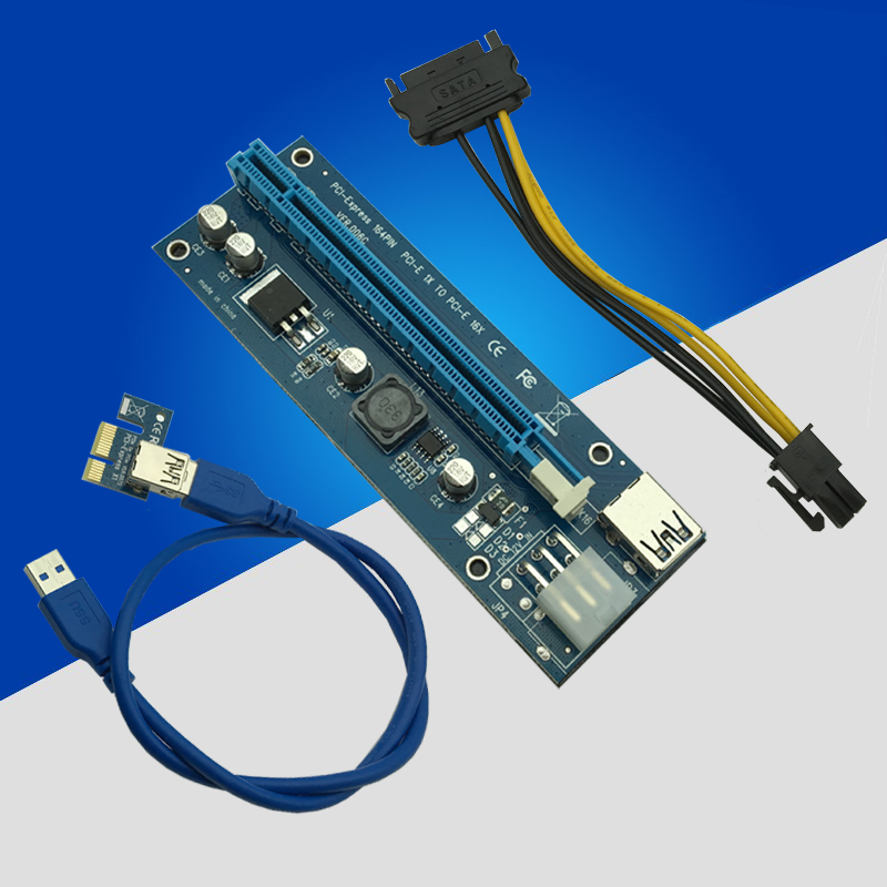 USB 3.0 PCI-E Express 1x To 16x Extender Riser Card Adapter Power BTC Cable NEW