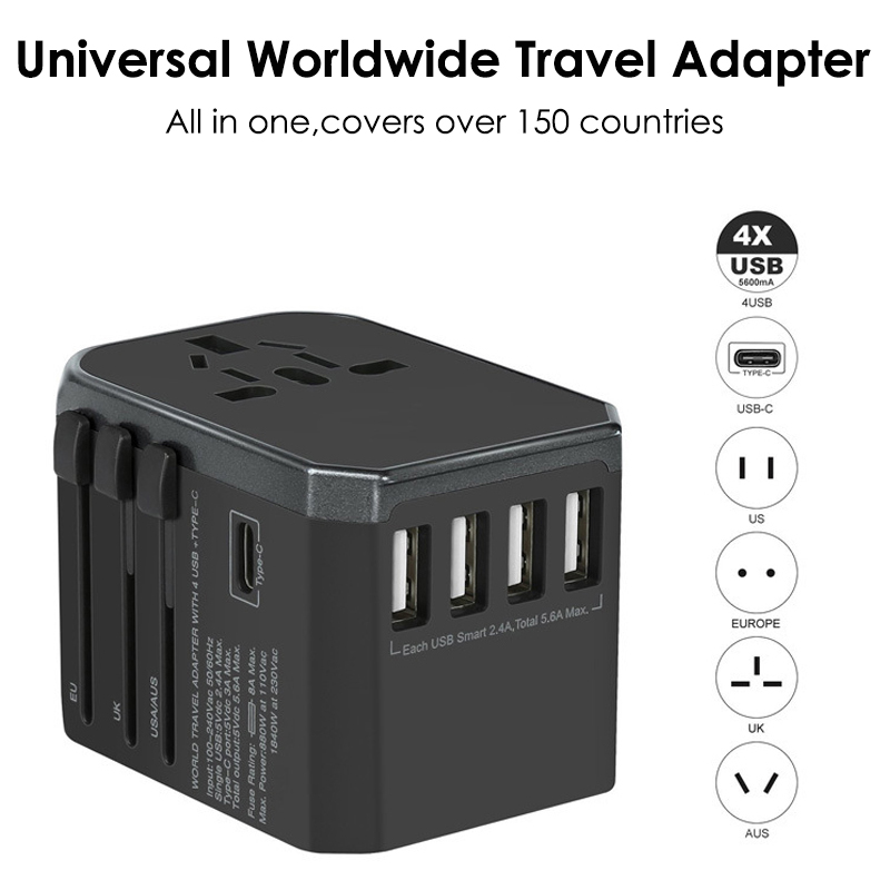 CRDC Universal Travel Adapter With 4 USB and USB Type C For UK,US,AU,EU Travel Plug Adapter for iPhone, Android, All USB Devices
