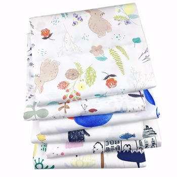 100% Twill Cotton Fabric DIY Crib Sewing Craft Patchwork Quilting Tissue Tilda Telia Cartoon Bear Birds Tower Printed
