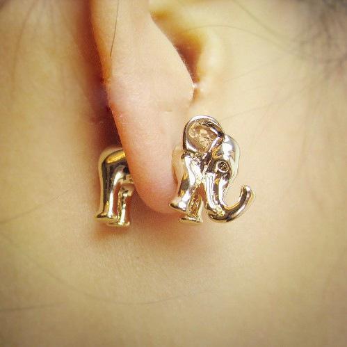 3D Animal Gold Silver Elephant Earrings