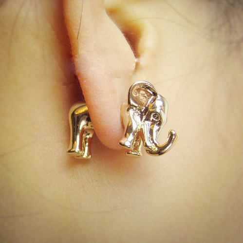 3D Animal Gold Silver Elephant Earrings