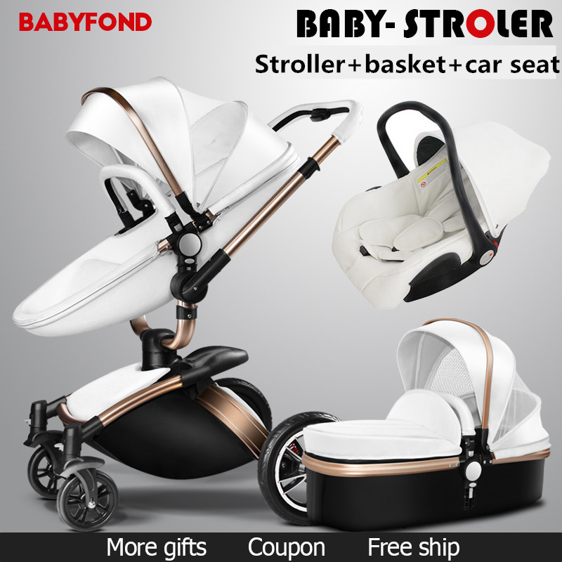 Brand baby car leather aluminium alloy frame light 3 in 1 baby carriage pram newborn light folding baby stroller russia warehouse direct sell 0 3 years 3 in 1 baby strollers gold baby stroller newborn baby carriage pram light folding baby