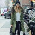 2016 Mulheres De Luxo Inverno Grande Guaxinim Verdadeira Gola De Pele Com Capuz Casaco longo Primavera Casual Algodão Engrosse Quente Longo Exército Verde Outwear
