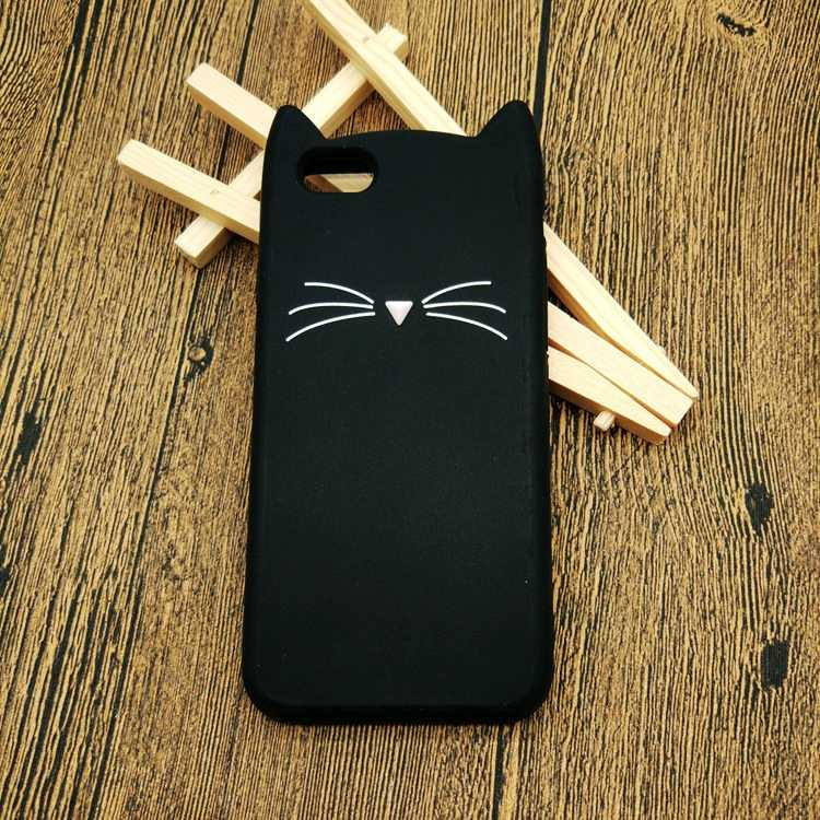 ソフトゴム Coque Iphone 5 6 ケース 3D かわいい漫画黒ひげ猫耳電話ケース iPhone 5S 6S 7 プラスシリコン