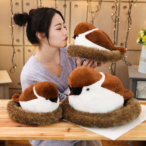 Image 2 - Sparrows Family Plush Toy Flying Brown Bird Lifelike Tree Animals Stuffed Doll with Nest Kids Comforting Gift
