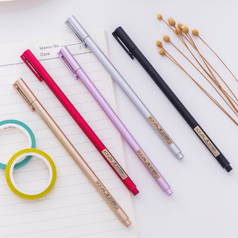 J18 5X Creative Simple Metal Feel Handle Gel Pen Writing Signing Tool School Office Supply Student Stationery Black Ink Soft Pen
