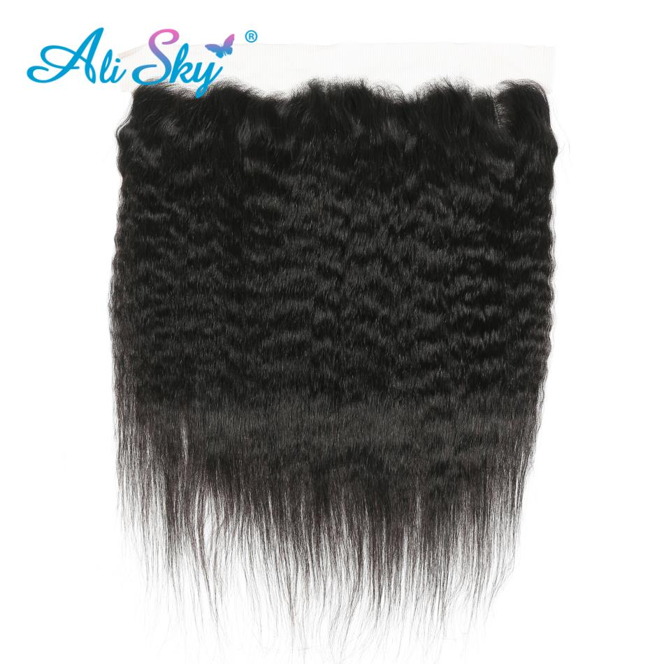 Latest Collection Of 13x4 Ear To Ear Brazilian Kinky Straight Lace Frontal Pre Plucked With Baby Hair 100% Human Hair Non Remy Ali Sky Color 1b Human Hair Weaves