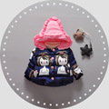 Ropa de bebé Niña Abrigo de Invierno Chaqueta de Abrigo Niños Pequeños Dibujos Animados de Moda de Corea Belleza de Impresión de Algodón Ropa de Navidad Sombrero