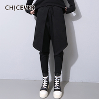 CHICEVER Black Autumn Trousers For Women Pant Fake Two Piece Plus Thick Elastic Waist Pencil Female