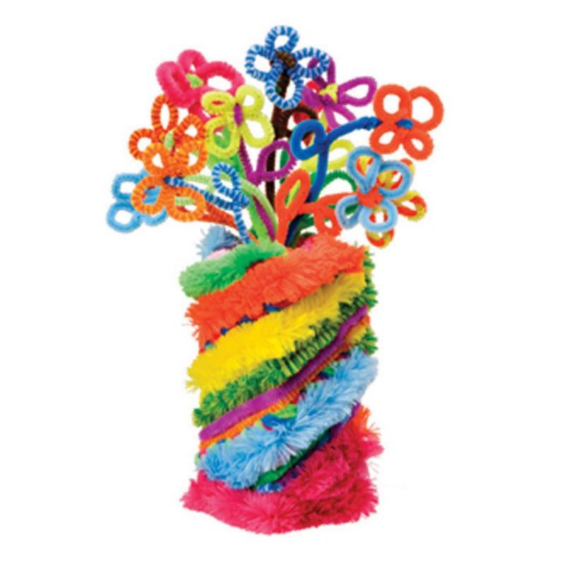 100PCS multicolore misto peluche filo di ferro flessibile affollamento Craft Sticks Pipe Cleaner Creatività in via di sviluppo per bambini fai da te giocattoli partito