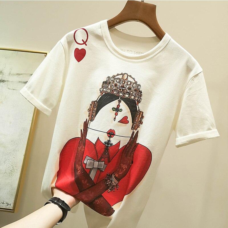 Zuolunouba Playing Cards In Harajuku T Shirt Women New Casual Short Sleeve Summer Tees Tops Loose 3
