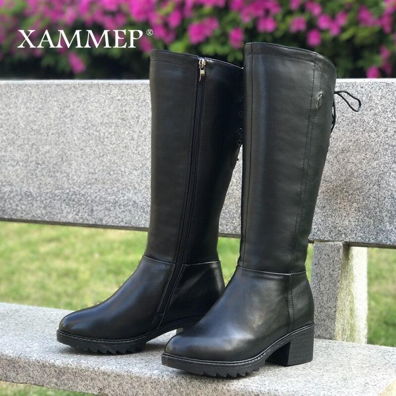 Marka kobiety zimowe buty oryginalne skórzane damskie zimowe buty naturalne wełniane damskie buty ciepłe wysokiej jakości buty do kolan w Kozaki do kolan od Buty na  Grupa 3