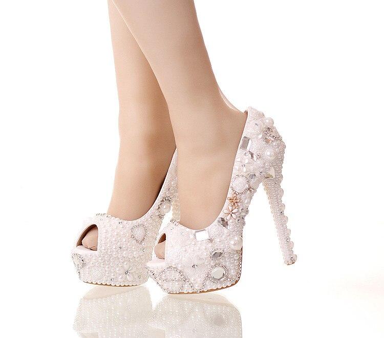 NEW Peep toe pendant pearl wedding shoes bride shoes shallow mouth thin heel shoes 14cm heel platform shoes