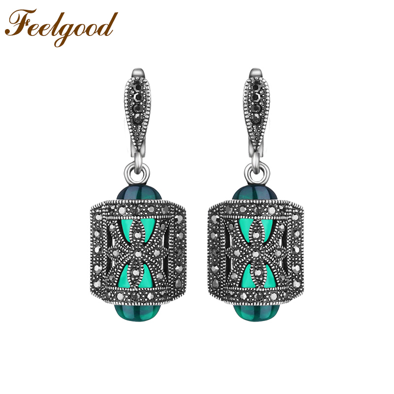 Feelgood Fashion Jewellery Earring Antique Silver Color Turkish Jewelry  Green Resin And Black Crystal Vintage Earrings For Women