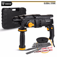 DEKO GJ180 220V 26mm AC Electric Rotary Hammer Four Functions with BMC Box, 5pcs Accessories Impact Power Drill for Woodworking