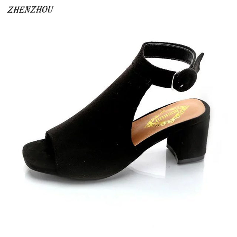 ZHENZHOU Free shipping Women's shoes 2018 brand OL high-heeled woman sandals frosted with fish mouth ladies sexy sandals