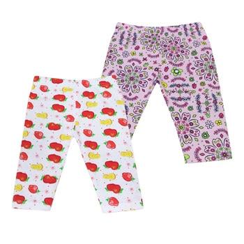 2018 New Style Baby Long Knee Length Pants Elastic Waist Leggings 2 pcs/lot Kids Clothes