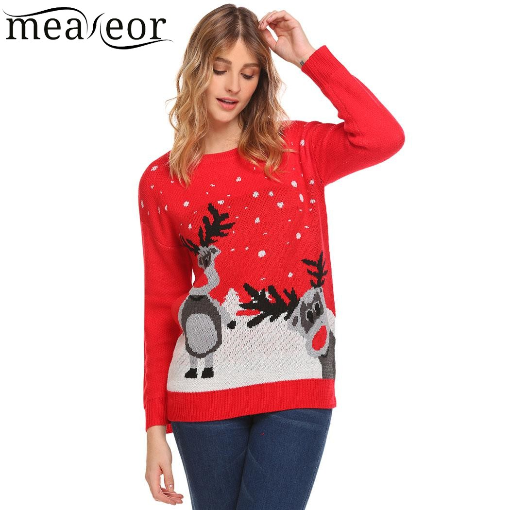 Meaneor Women Christmas Warm Sweaters 2017 Casual Knitted Pullover Printed Cartoon Sweater O-Neck Long Sleeve Suit Feminino Tops