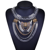 New False Collar Short Necklace Chain Necklaces Wholesale Fashion Luxury Large Metal Alloy Gold Silver Plated