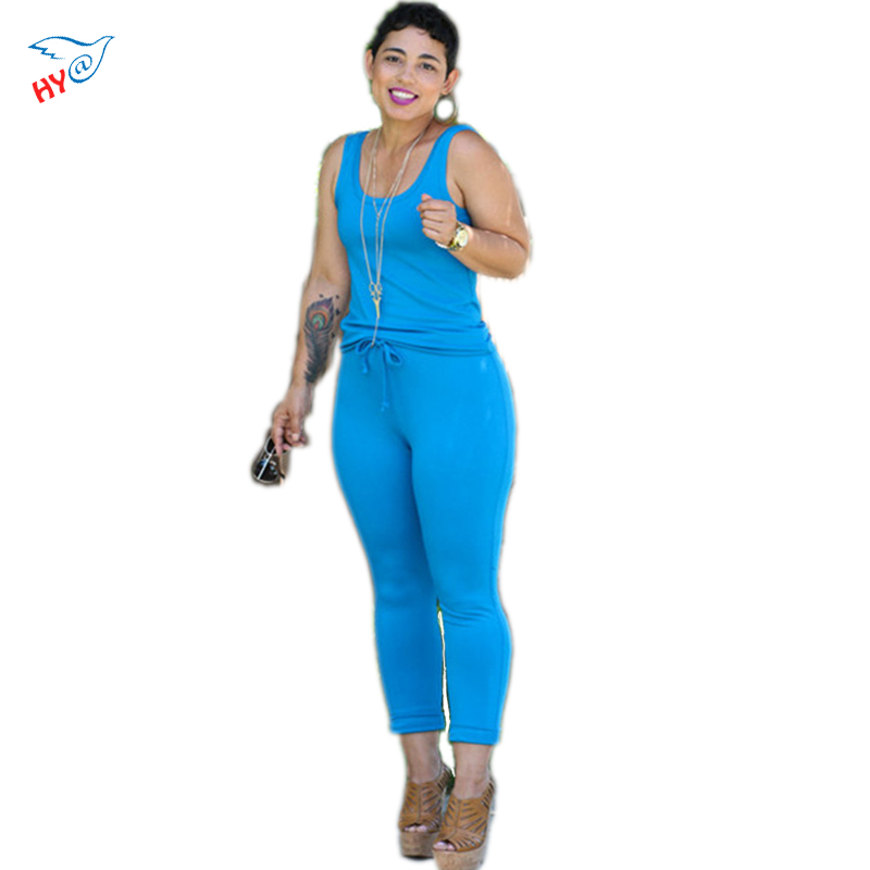 2016 Hot Sale Woman Fashion Casual Blue Spaghetti Strap Sleeveless V-Neck Elegant Sexy Silm Style Club Rompers Women Jumpsuit