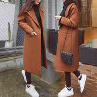 Autumn and Winter New Women's Korean Slim Was Thin Woolen Coat Pure Color Long-sleeved Temperament Long Section Casual Jacket