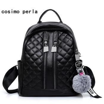 Black Diamonds Lattice Backpacks Soft Leather Travel School Bags for Girls Fashion Female Plush Fur Ball Bear Plaid Day Rucksack grande bolsas femininas de couro