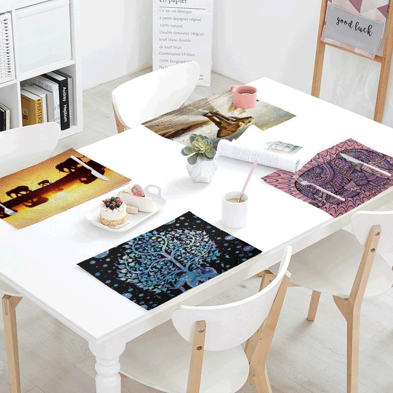 Ethnic Vintage Style Tablecloth Elephant Geometric Flower Mandala Napkin Tea Coffee Table Restaurant Kitchen Decor Western Mat