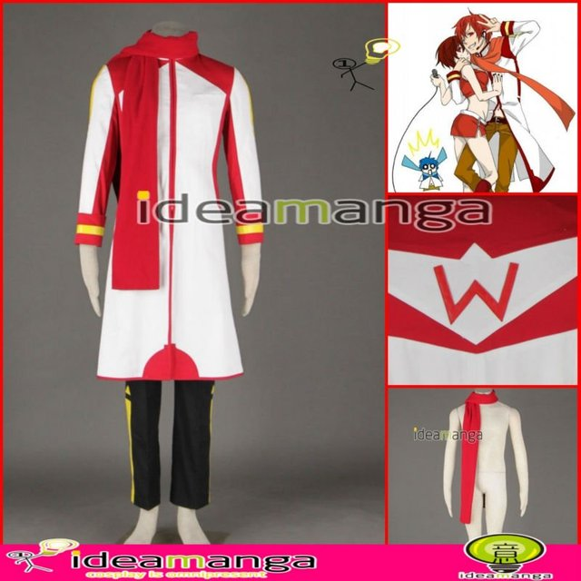 Manga Amime V+ VOCALOID KAITO style Red and white version 2nd man's Cosplay Costume male halloween party dress Any Size