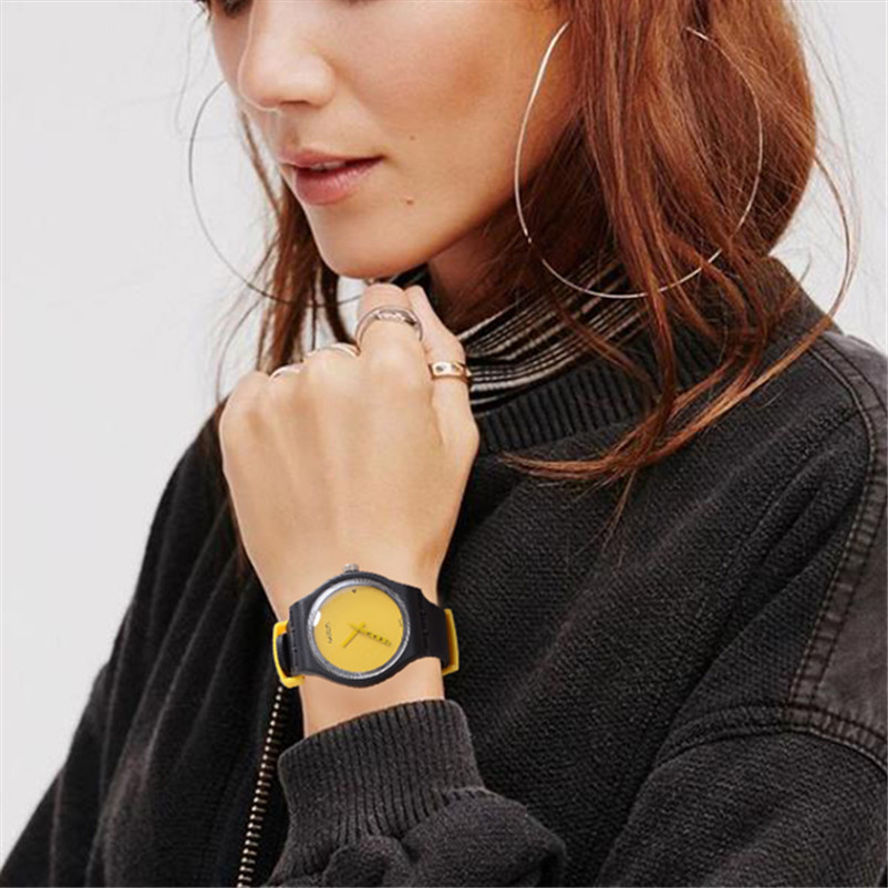 Fashion Watch Women Sport Creative Yellow Simple Dial Black Straps Quartz Watch Ins Style Gift Silicone Relogio Feminino cloc(China)