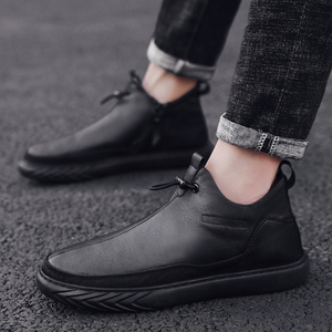 Image 5 - Genuine Leather Shoes Men Brand Footwear Non slip Thick Sole Fashion Mens Casual Plus velvet Sneakers Male High Quality zapatos