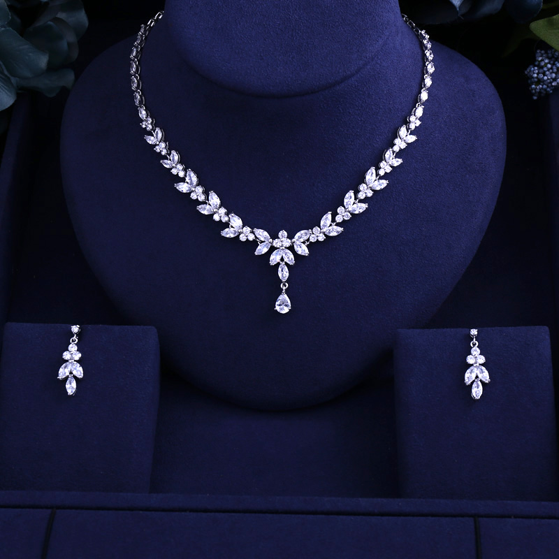 Newest Luxury Sparking Brilliant Cubic Zircon Clear Necklace Earrings Wedding Bridal Jewelry Sets Dress Accessories(China)