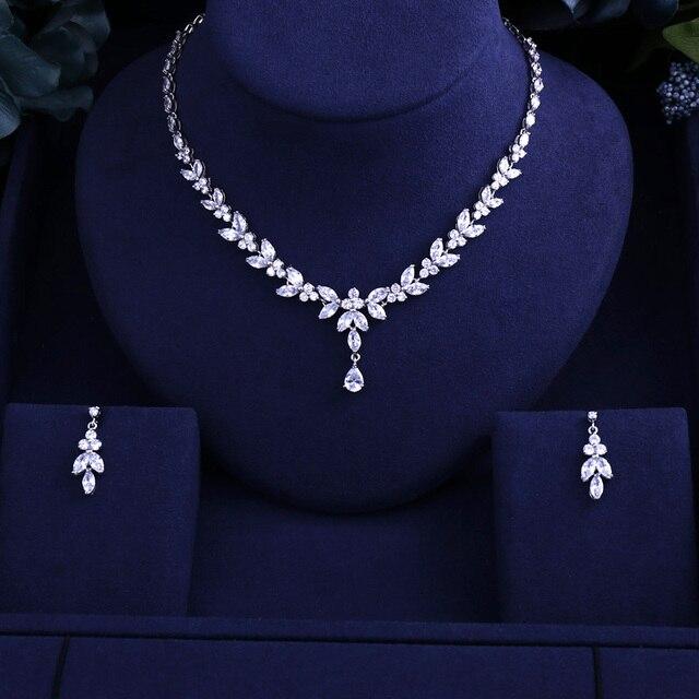 יוקרה החדש וגרם מבריק מעוקב זירקון ברור שרשרת עגילי חתונה כלה תכשיטי סטי שמלת אבזרים
