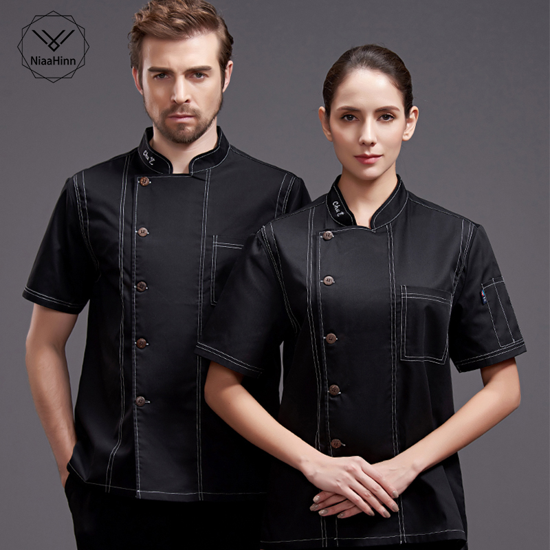 Wholesale New Food Service Unisex Restaurant Kitchen Chef Uniform Shirt Short Sleeve Chef Jacket+cap+apron Works Clothes For Men