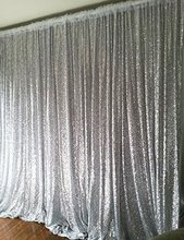 LQIAO Silver Sequin Curtains 8ftx8ft Sequin Backdrop for Wedding Photo Booth Party Christmas Decoration Drapes 240cmx245cm