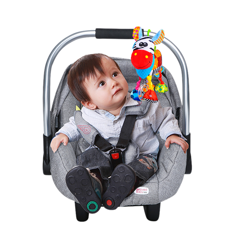 OASMU Baby Toys Kids Hanging Toy For Crib With Teethers Pram Toys Colorful Dog Infant Stroller Toys Washable Squeaker Car Toys