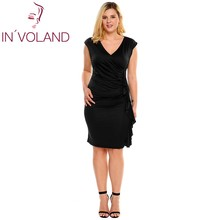 IN'VOLAND Women Dress Oversize Sexy Deep V-Neck Ruffles Draped Solid Bodycon Business Party Feminino Dresses Vestidos Plus Size