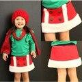 Infantil moda cachemira navidad falda corta lovely baby niñas blancas y rojas del busto de lana nuevo invierno niños ropa 5 unids/lote