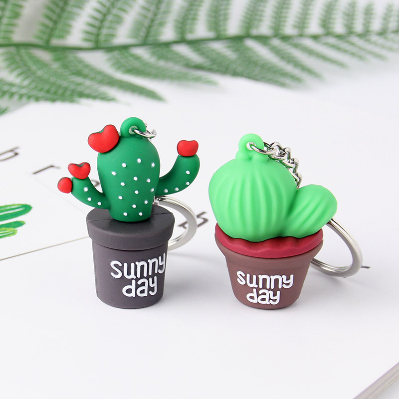New 3D Cute Simulation Green Plant Cactus Potted Keychain Women Girls Key Ring Gift Bags Decoration Pendant Couple Key Chain