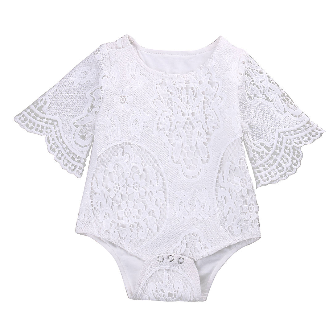 Infant Baby Girl Lace Floral Romper Jumpsuit Outfits Sunsuit One-pieces Baby girl lace jersey bat sleeve piece clothing 2017