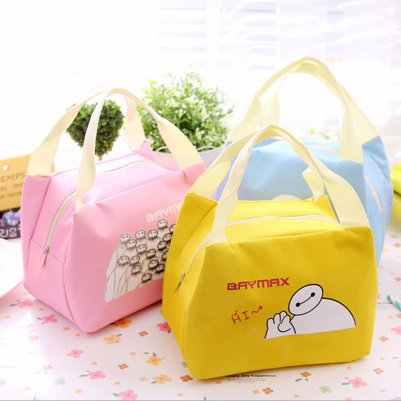 New 2018 Portable Cartoon Cute Hello Kitty Lunch Bag Insulated Cold Canvas Picnic Totes Carry Case For Kids Women Thermal Bag Mo